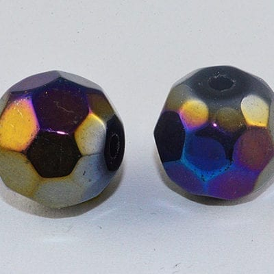 10 Round Czech 'AB' Black & Grey Electro Plated Bead - (10mm) 8