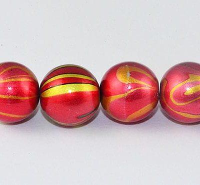 10 Swirl Glossy Red Fancy Acrylic Beads - (10mm) 6