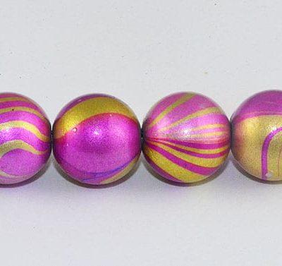 10 Swirl Dark Pink Fancy Acrylic Beads - (10mm) 4