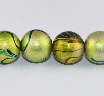 10 Swirl Light Green Fancy Acrylic Beads - (10mm) 7