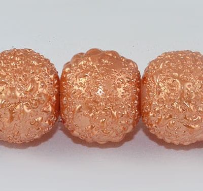 1 Matt Orange Round Pearl Style Fancy Acrylic Beads - (8mm) 8