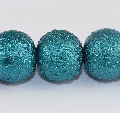 1 Matt Dark Turquoise Round Pearl Style Fancy Beads - (8mm) 6