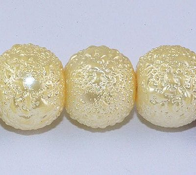1 Matt Cream Round Pearl Style Fancy Acrylic Beads - (8mm) 3