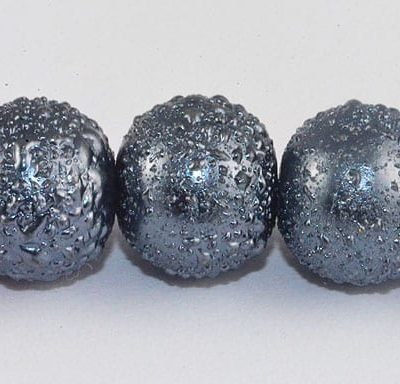 1 Matt Dark Grey Round Pearl Style Fancy Acrylic Beads - (8mm) 4