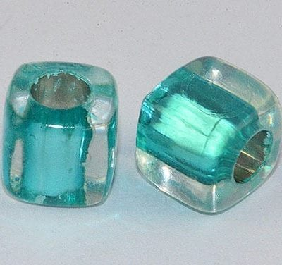 Square Turquoise Lampwork Acrylic Resin Beads - (8mm) 4