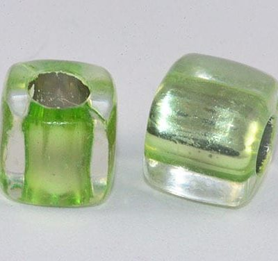 Square Lime Green Lampwork Acrylic Beads - (8mm) 1