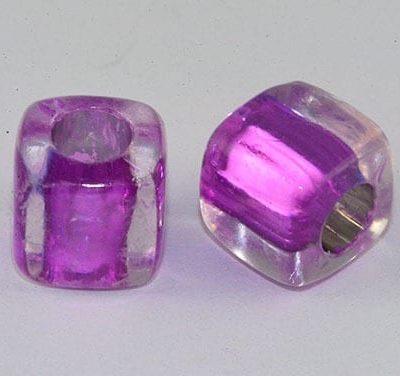 Square Purple Lampwork Acrylic Resin Beads - (8mm) 5