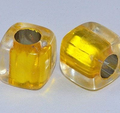 Square Gold Lampwork Acrylic Resin Beads - (8mm) 1
