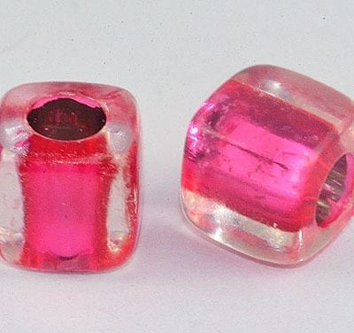 Square Pink Lampwork Acrylic Resin Beads(8mm) - ACR3 5