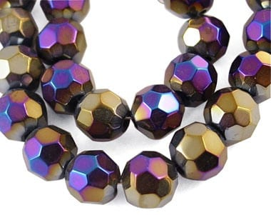 10 Round Black Czech 'AB' Electro Plated Bead - (8mm) 7