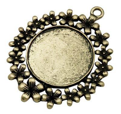 1 Antique Bronze Large Round Cabochon Setting Pendant - (50mm) 1