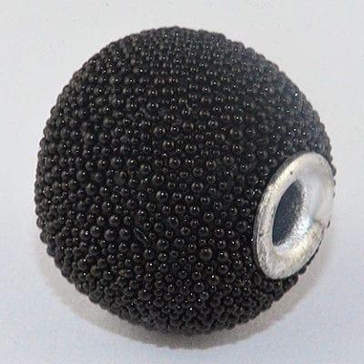 Hand Made Lovely Black Kashmiri Bead - (14mmX13mm) 12