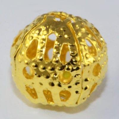 Filigree Antique Gold Metal Round Bead - (8mm) 13