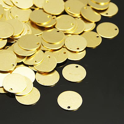10 Gold Metal Flat Round Shape Beads (10mm) - M19 11