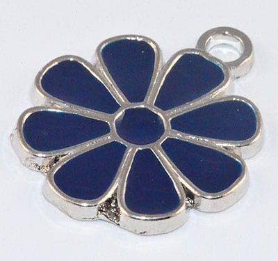 Amazing Enamel Alloy Blue Flower Charm - (21mmX17mm) 1