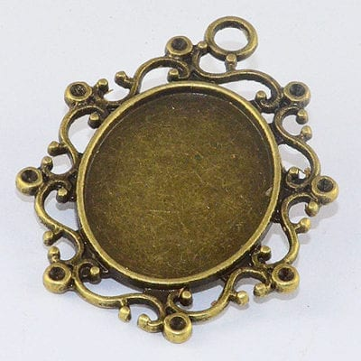 1 Antique Bronze Large Oval Cabochon Setting Pendant - (40mm) 4