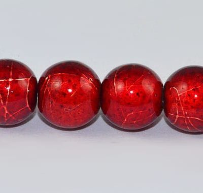 10 Bright Red Round Fancy Glass Beads - (8mm) 3
