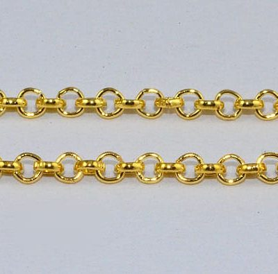 Gold High Quality Metal Round Link Jewelry Loose Chain - (3mm) 3