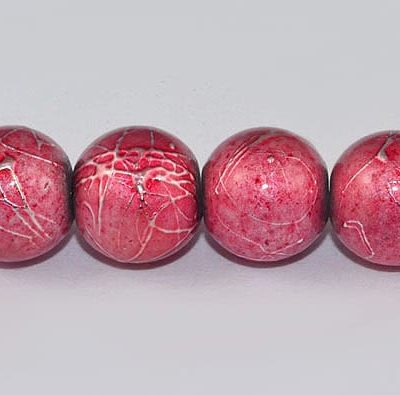 10 Bright Pink Round Fancy Glass Beads - (8mm) 2
