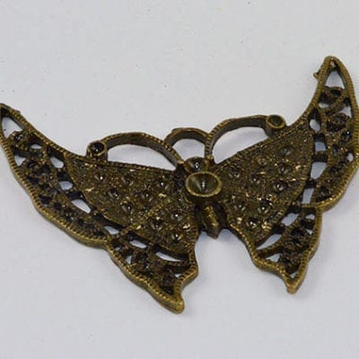 1 Butterfly Antique Bronze Large Pendant - (47mmx52mm) 9