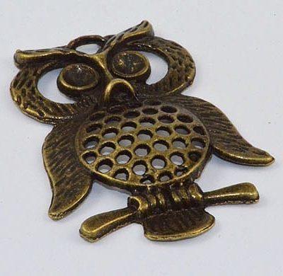 1 Owl Antique Bronze Large Pendant - (46mmx35mm) 9