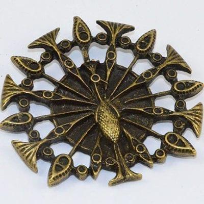 1 Peacock Antique Bronze Large Pendant - (43mmx45mm) 10