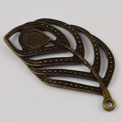 1 Leaf Antique Bronze Large Pendant - (55mmx30mm) 8