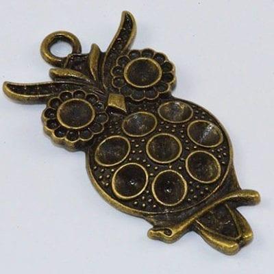 1 Spectacular Owl Antique Bronze Large Pendant - (47mmx24mm) 11