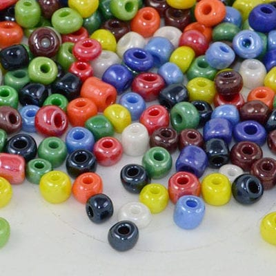 6/0 Multi Coloured Lustre Glass Seed Beads - (10 grams) 3