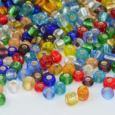 6/0 Multi Coloured Silver Lined Seed Beads - (10 grams) 1