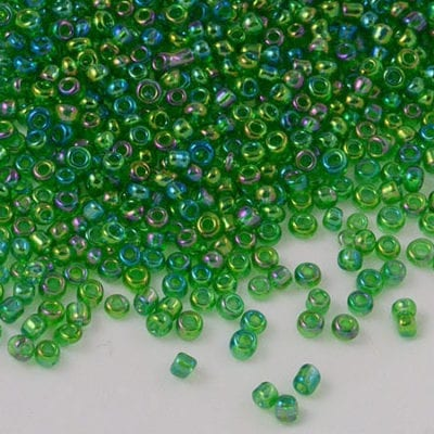 12'0 Luster Lawn Green Round Glass Seed Beads - (10 grams) 3