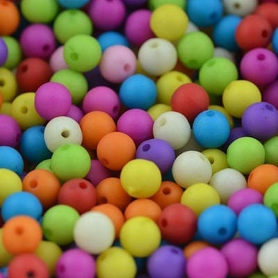 10 Multi Coloured Round Frosted Acrylic Variety Beads - (8mm) 2