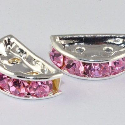 Multi Strand Pink Linking Rhinestone  Bead - (13mm) 18