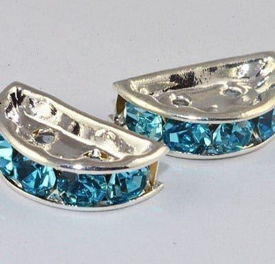 Multi Strand Turquoise Linking Rhinestone  Bead - (13mm) 20