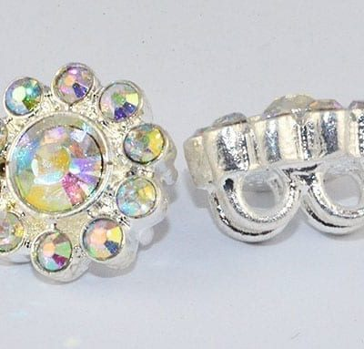 Clear 'AB' Coated Floral Grade 'A' Rhinestone Silver Bead - (12m 3
