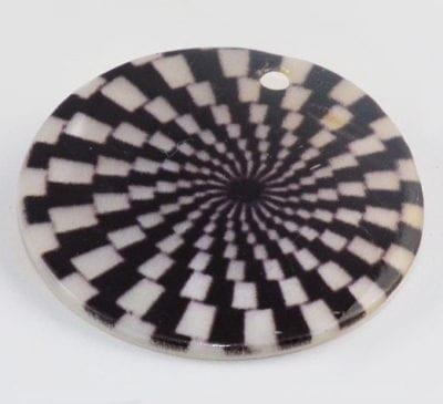 Round Flat Check Handmade Printed Shell Bead - (30mm) 1