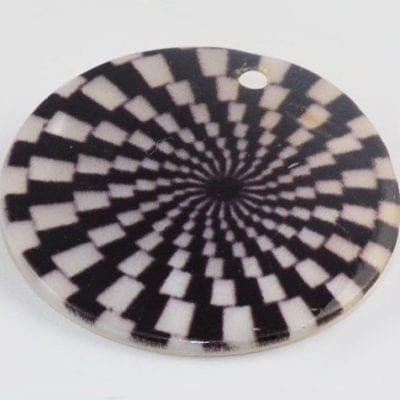 Round Flat Check Handmade Printed Shell Bead - (30mm) 4