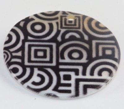 Round Flat Black & White Handmade Printed Shell Beads - (30mm) 1