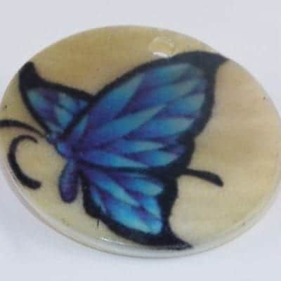 Round Flat Butterfly Handmade Printed Shell Bead - (30mm) 3