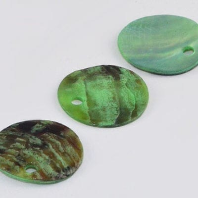 5 Brilliant Light Sea Green Flat Round Sea Shell Beads - (13mm) 4