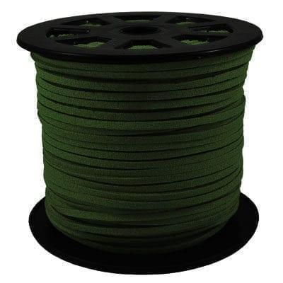 1 Meter Dark Olive Green Faux Suede Flat Chord - (3mm) 1