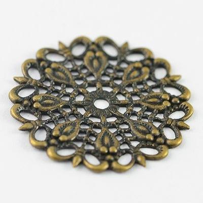 2 Filigree Bronze Chandelier Round Flat Metal Bead - (25mm) - M16 9