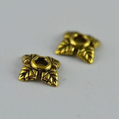 20 Round Floral Gold Metal Bead Cap (6mm) - M16 20
