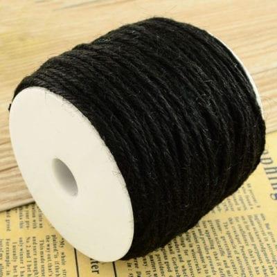 3 Meters Black Natural Hemp String Cord - (2mm) 1