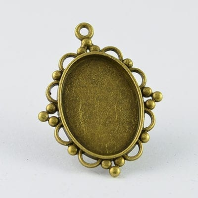 2 Oval Bronze Metal Cabochon Setting - (38mmx30mm) 10