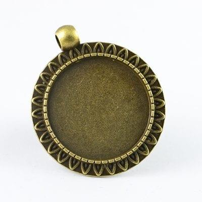 2 Round Bronze Metal Bezel Cabochon Setting - (38mmx33mm) 14