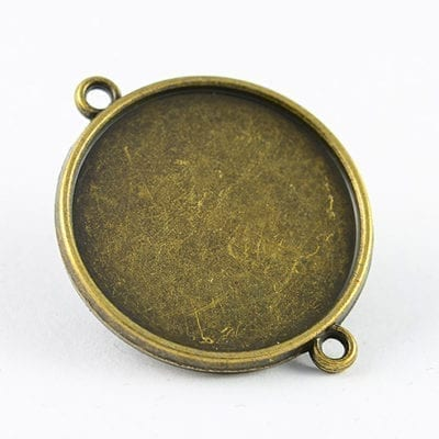 2 Round Bronze Metal Bezel Connector Cabochon Setting - (34mm) 16