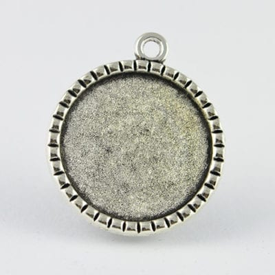 2 Round Silver Metal Bezel Cabochon Setting - (35mm) 18
