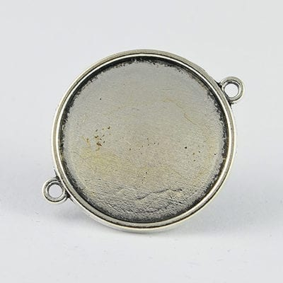 2 Round Silver Metal Bezel Connector Cabochon Setting - (34mm) 20