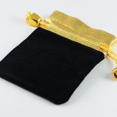 2 High Quality Black With Gold Velvet Gift Bag - (95mmx72mm) 3